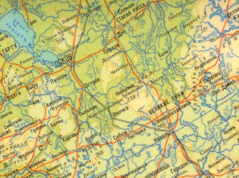 Псковская область обзорная карта